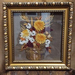 Vintage framed hand stitched crewel floral art emb